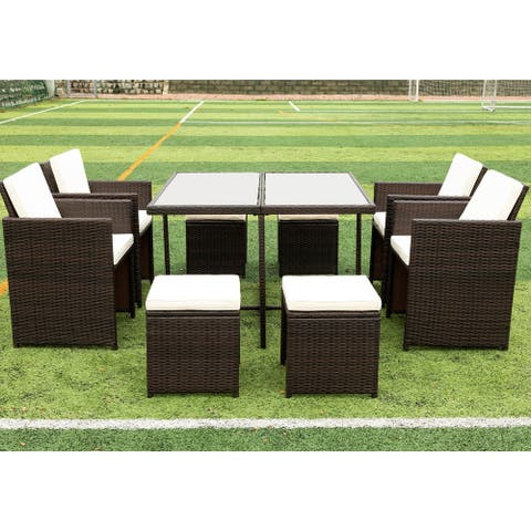 Nestfair 9 Pieces Patio Dining Sets Rattan Chairs with Glass Table