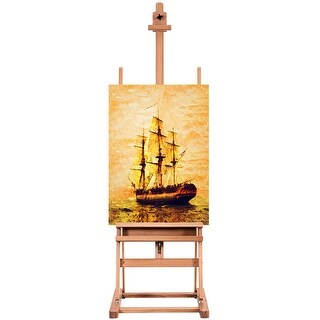 Costway Wood H-Frame Floor Easel Artist Painting Display Studio Fully Adjustable w/ Tray - wood color