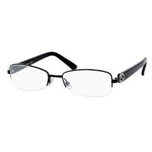 Gucci Womens Eyeglasses 2906 65Z/17 Metal Semi Rimless Black Frames