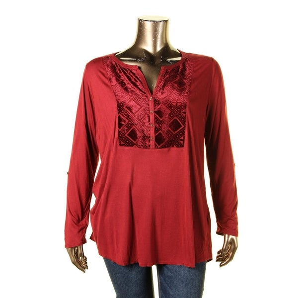 f6f769ca6ad Shop Lucky Brand Womens Plus Blouse Henley Velvet Red 1X - Free Shipping On  Orders Over  45 - Overstock.com - 17573682