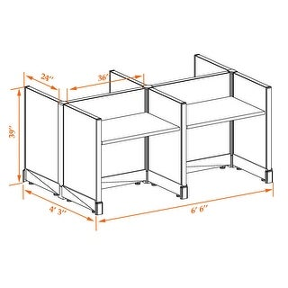 Small Office Cubicles 39H 4pack Cluster Unpowered (2x3 - Walnut Desk Silver Paint - Assembly Required)