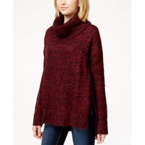 Say What? Womens Juniors High Low Cowl Neck Pullover Sweater Red S - Burgundy/Black - Small