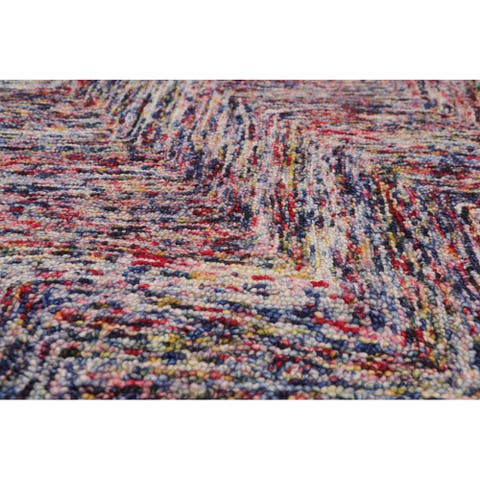 "3'4x5' Hand Tufted Wool Zig Zag Medley Multi Color Wool Area Rug Oriental Area Rug Multi Color, Color - 3'4"" x 5'"