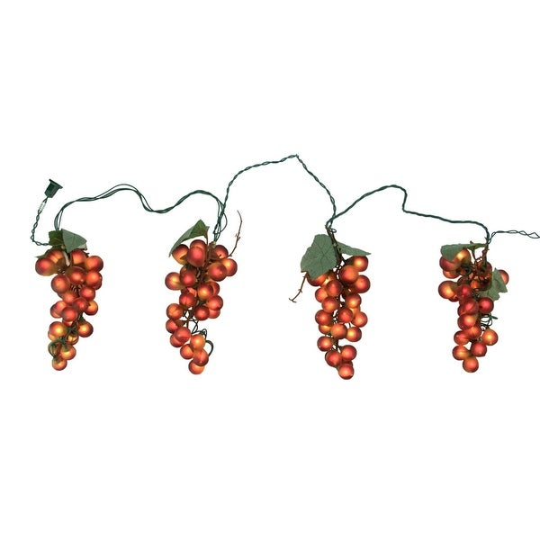 tuscan winery red grape summer garden patio christmas light set 5 clusters 35 lights