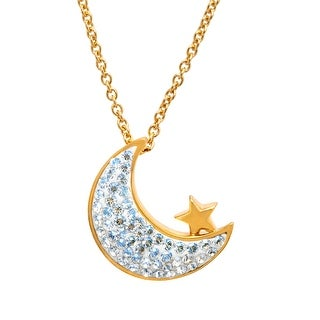Crystaluxe Moon and Star Pendant with Swarovski Crystals in 14K Gold-Plated Sterling Silver