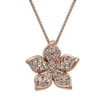 Crystaluxe Flower Pendant with Swarovski Crystals in 14K Rose Gold-Plated Sterling Silver - Pink