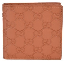 Gucci Men's 150413 Saffron Tan Leather GG Guccissima W/Coin Bifold Wallet