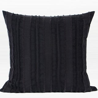 "G Home Collection Luxury Black Tassel Stripe Textured Pillow 20""X20"""
