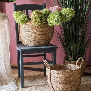 RusticReach Khaki Brown Solid Color Straw Basket With Handles