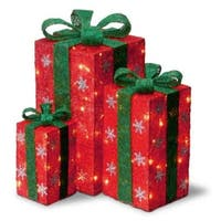 Set of 3 Tall Red Sisal Gift Boxes Lighted Christmas Outdoor Decorations