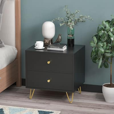 2-drawer Nightstand with 4 Metal Legs