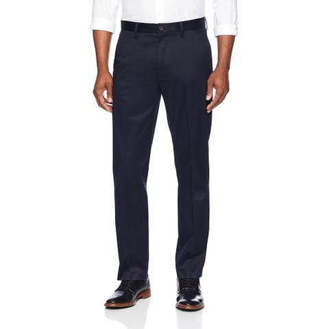 Buttoned Down Mens Dress Pants Navy Blue Size 34X32 Straight-Fit