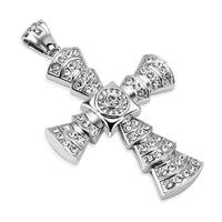 Large Cross Layered with Multi Paved CZs Stainless Steel Pendant (54 mm Width)