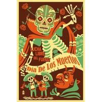 Dia de los Muertos Lucha Libre del Fuego - LP Art (Art Print - Multiple Sizes)