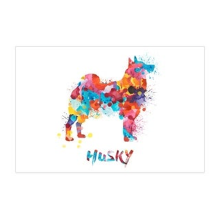 Husky Dog and Cat Watercolor Splatter Art Matte Poster 36x24