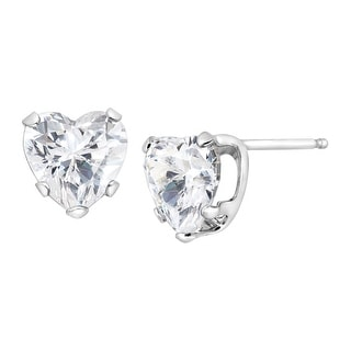 2 ct Cubic Zirconia Heart Stud Earrings in 14K White Gold