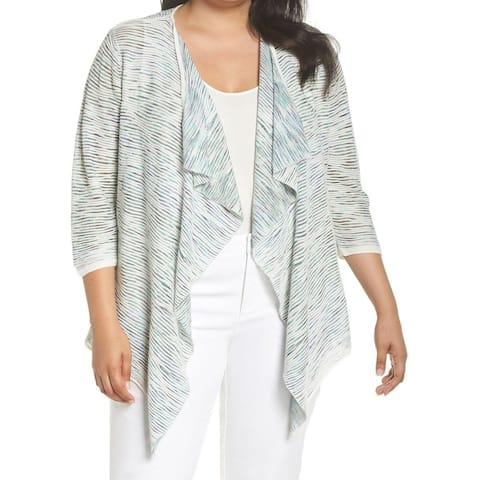 NIC+ZOE Striped Knit Ruffled Womens Large Draped Jacket