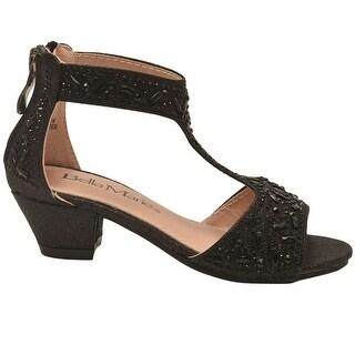 Bella Marie Little Girls Black Stone Encrusted T-Bar Sandals