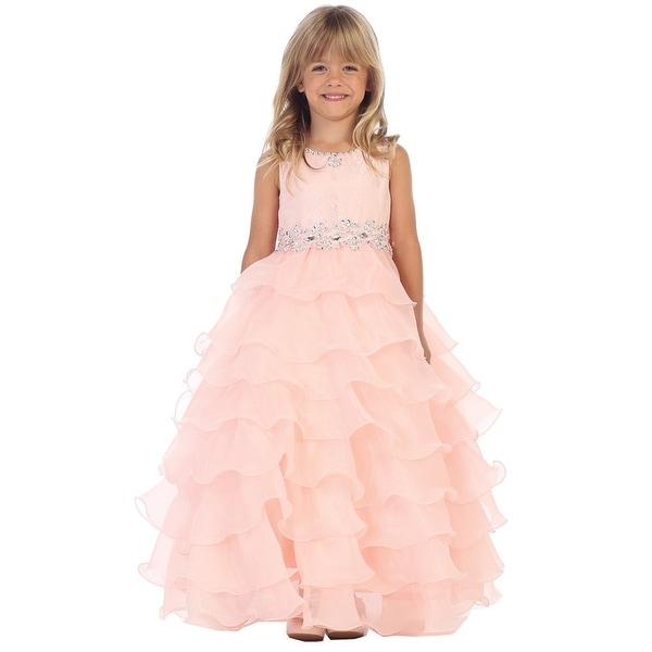 Angels Garment Girls Blush Lace Organza Ruffle Junior Bridesmaid Dress 7-10