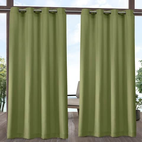 ATI Home Indoor/Outdoor Solid Cabana Grommet Top Curtain Panel Pair