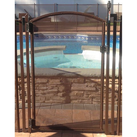 Pool Fence DIY by Life Saver Self-Closing Arched Gate Kit, Brown, 4-Foot Tall - 4 Foot Tall