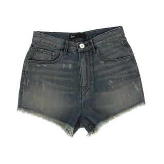 3x1 Womens Whisker Wash High Waist Denim Shorts
