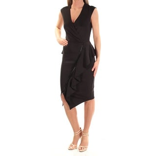 Womens Black Sleeveless Knee Length Faux Wrap Cocktail Dress Size: 2