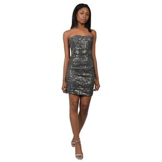 La Femme Strapless Sequin Beaded Fitted Cocktail Evening Dress - 2