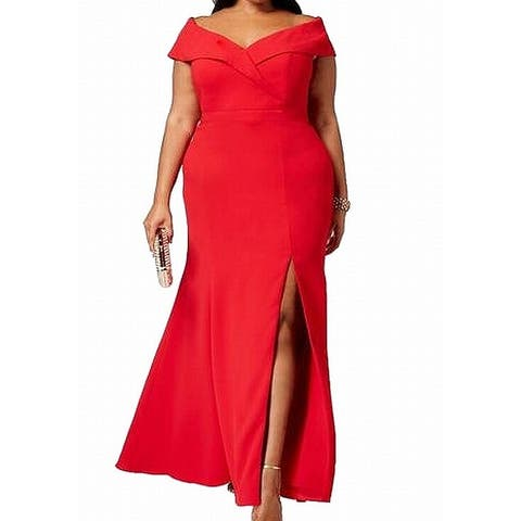 Xscape Women Dress Red Size 16W Plus Gown Slit Hem Opening Off Shoulder
