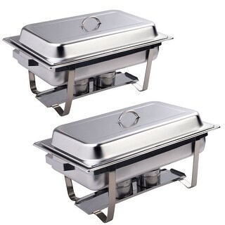 Costway 2 Pack of 8 Quart Stainless Steel Rectangular Chafing Dish Full Size