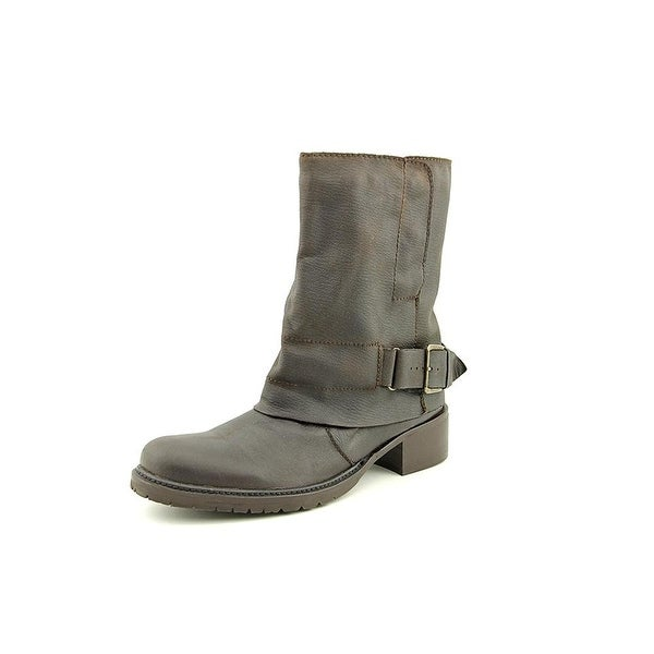 Adam Tucker Womens Ledger 4 Leather Almond Toe Mid-Calf Motorcycle Boots