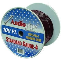 Audiopipe 100' 4 Gauge Black Power Wire