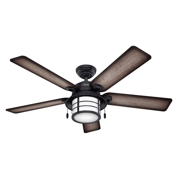 """Hunter 54"""" Key Biscayne Outdoor Ceiling Fan with LED Light Kit and Pull Chain, Damp Rated. Opens flyout."""