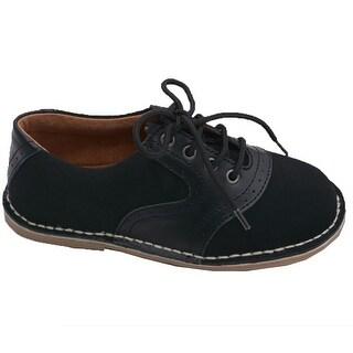 L'Amour Little Boys Black Nubuck Leather Oxford Lace Ups Shoes 11-2 Kids