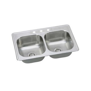 "Proflo PFSR332263 33"" Double Basin Drop In Stainless Steel Kitchen Sink with 3 Faucet Holes"