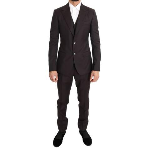 Bordeaux Wool Slim Fit Two Button Men's Suit