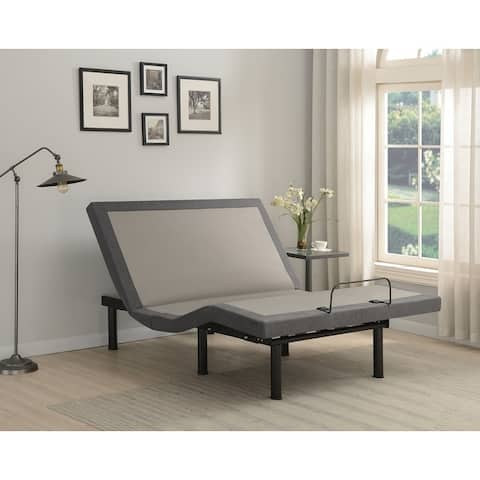 Porch & Den Hyde Grey and Black Adjustable Bed Base