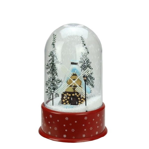"14"" Lighted Musical Snowing Windmill Christmas Table Top Snow Dome - RED"