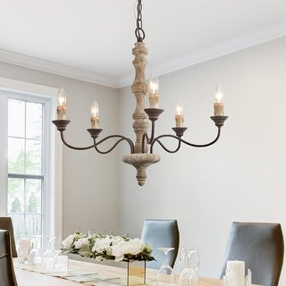 """Link to The Gray Barn Antique 5-lights Candle Wood Chandelier French Country Handmade Lighting - D23""""XH24.5"""" Similar Items in Chandeliers"""