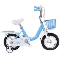 Costway 12'' Kids Bike Bicycle Children Boys & Girls with Training Wheels and Basket Blue