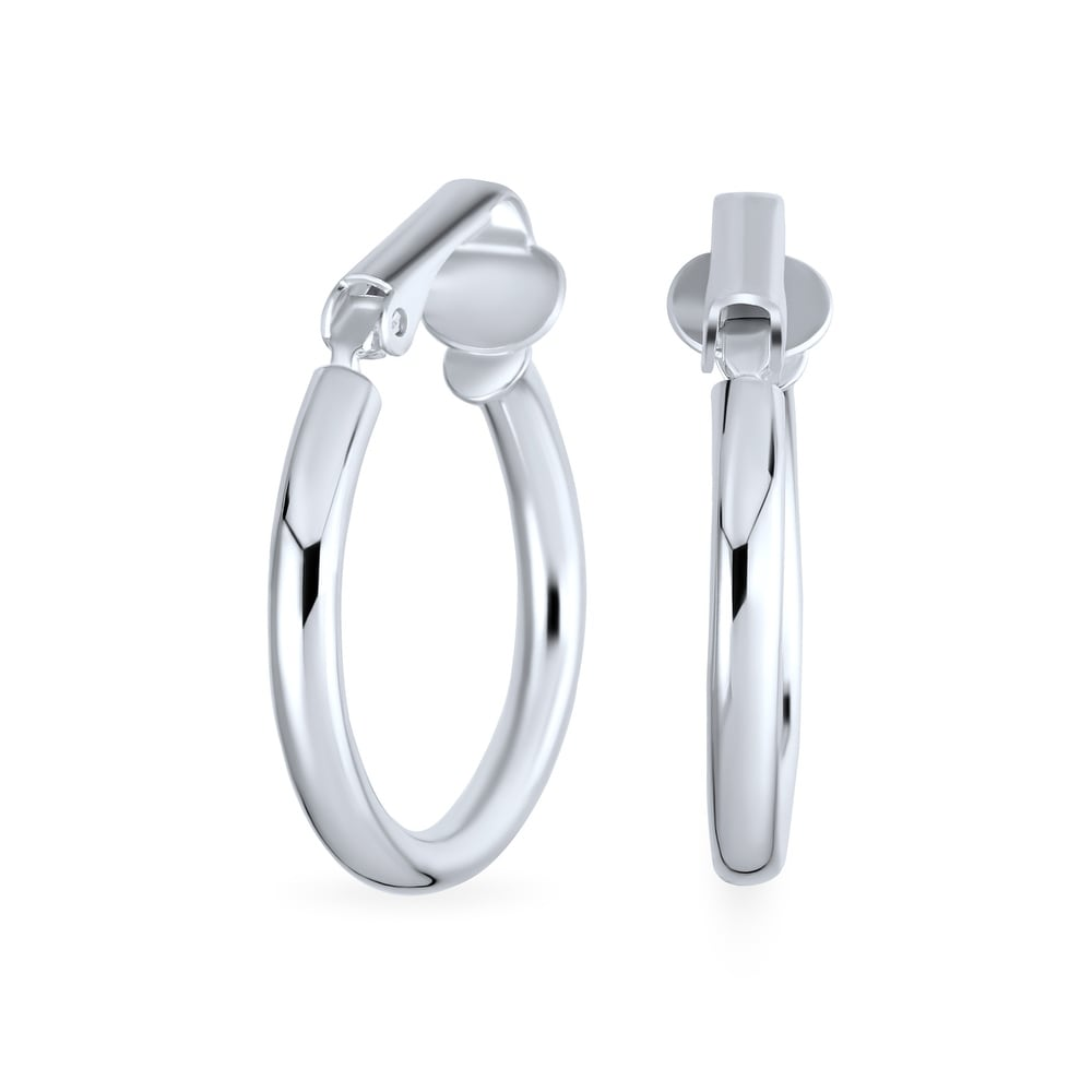 Details about  /.925 Sterling Silver 57 MM Non-Pierced Oval Dangle Clip Earrings MSRP $92