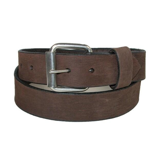 Boston Leather Men's Big & Tall Bark Leather 1.5 Inch Belt