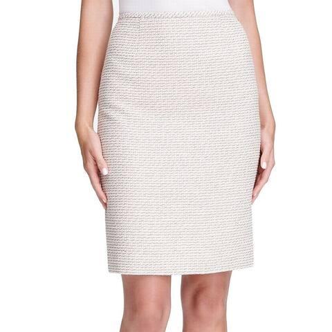 Calvin Klein Womens Skirt Beige Grey Size 10P Petite Tweed Pencil