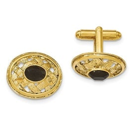 Goldtone Textured Black Crystal Cuff Links