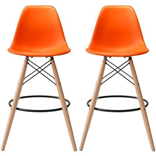 2xhome   28 Inch Plastic Chair DSW Orange Counter Stool Bar Stool (Set Of