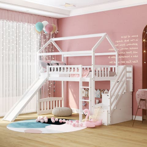 Merax Twin Loft Bed with 2 Storage Drawers and Slide