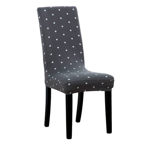 Spandex Dots Pattern Stretchy Dining Chair Seat Cover Protector