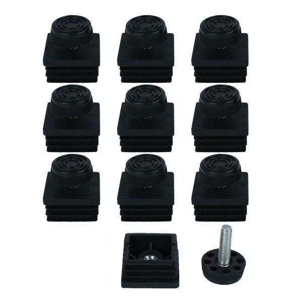 Leveling Feet 38 x 38mm Square Tube Inserts Kit Furniture Glide Adjustable Leveler for Sofa Chair Leg 10 Sets
