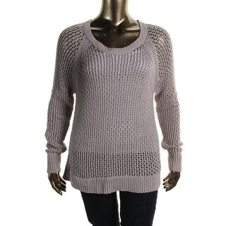Jessica Simpson Womens Plus Open Stitch Scoop Neck Tunic Sweater - 3X