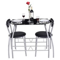 Costway 3 PC Bistro Set Dining Room Breakfast Chairs Tempered Glass Table Top Furniture